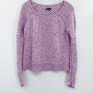 American Eagle pink wide knit marled sweater